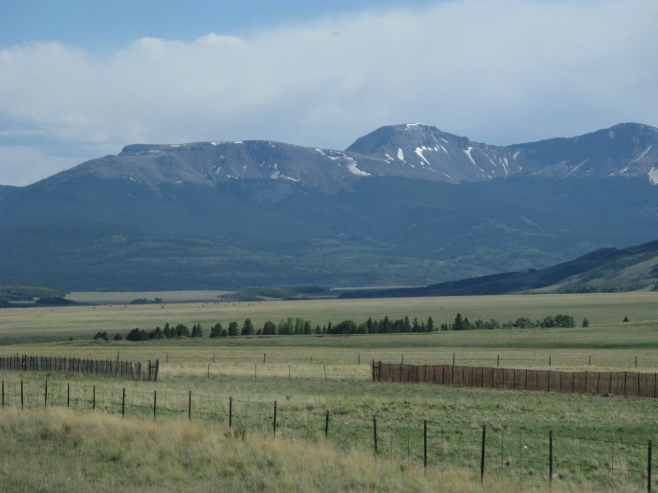 Buffalo Peaks through the car windshield, on the approach to Trout Creek Pass, the first mountain pass on my commute to Denver.