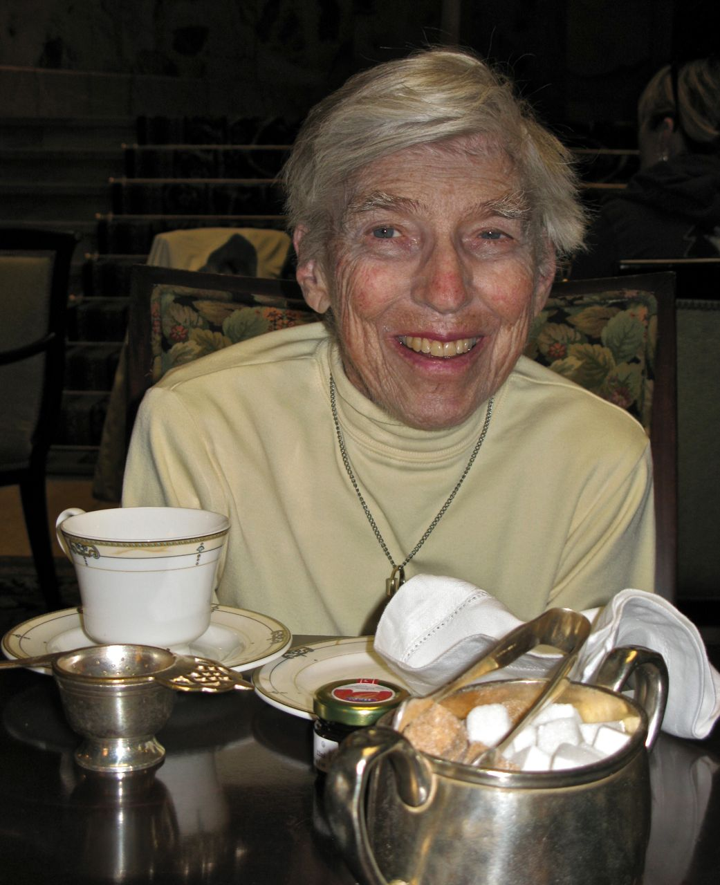 Mom, celebrating her 79th birthday with high tea at Denver's Brown Palace Hotel