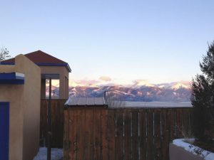 Sunset on the Sangre de Cristo Range from the pools at Joyful Journey.