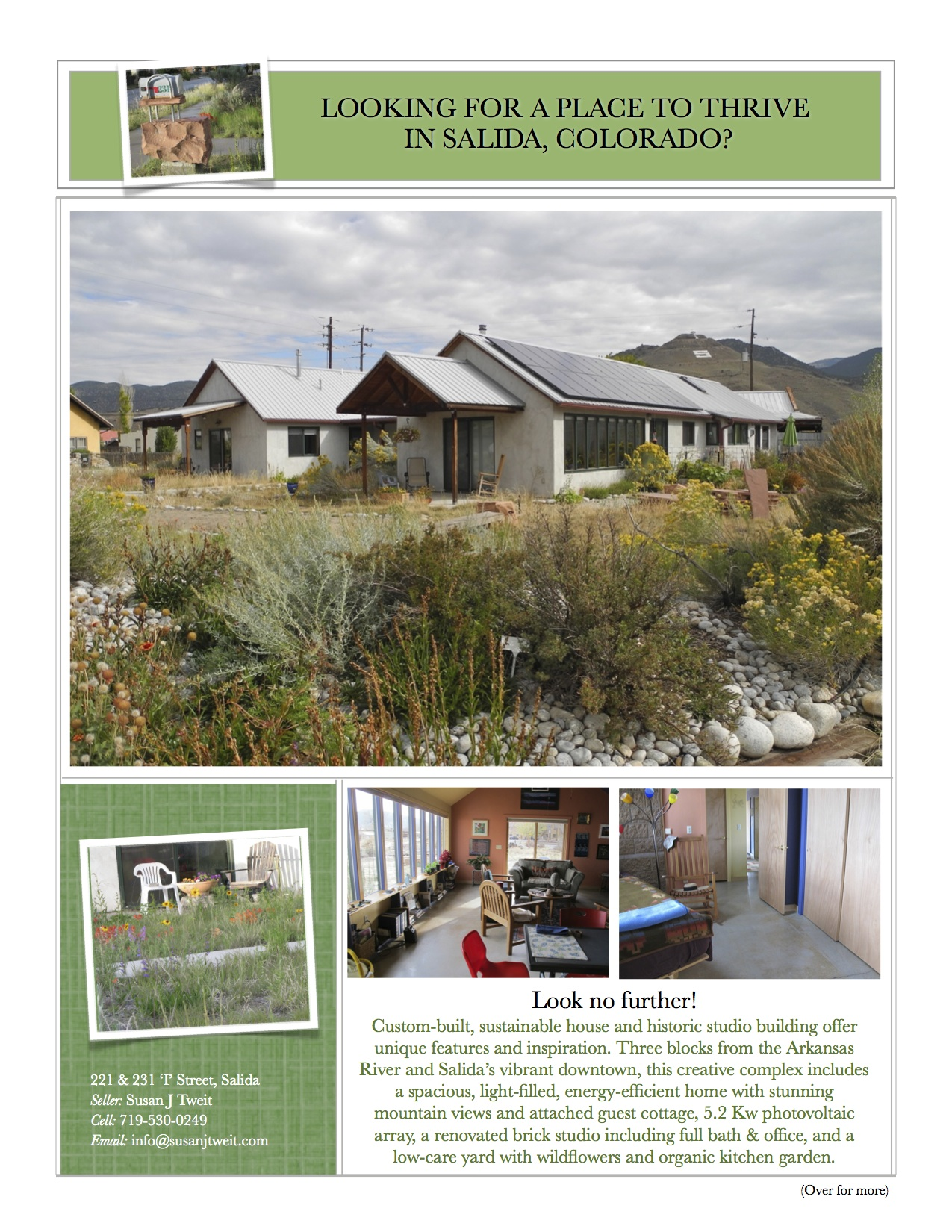 The first page of the sale flyer for my house/cottage/historic studio.