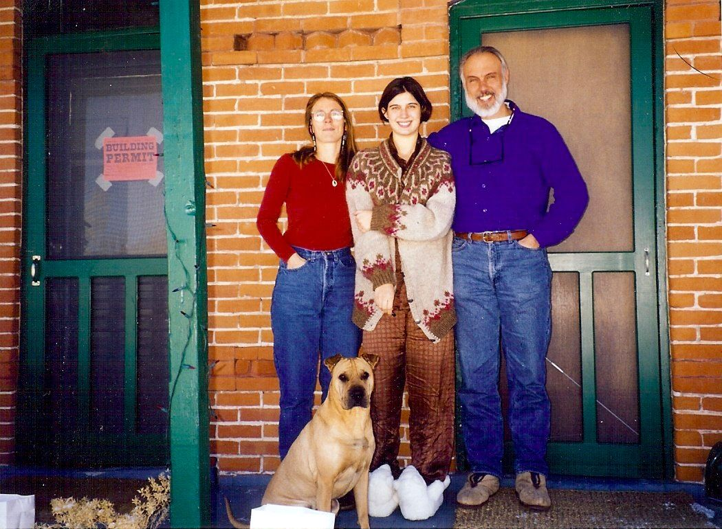 Me, Molly, and Richard on the front porch of the duplex with Perdida, 1997