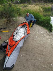 Richard Cabe inflating our brand-new kayak at Frantz Lake, September 2009.