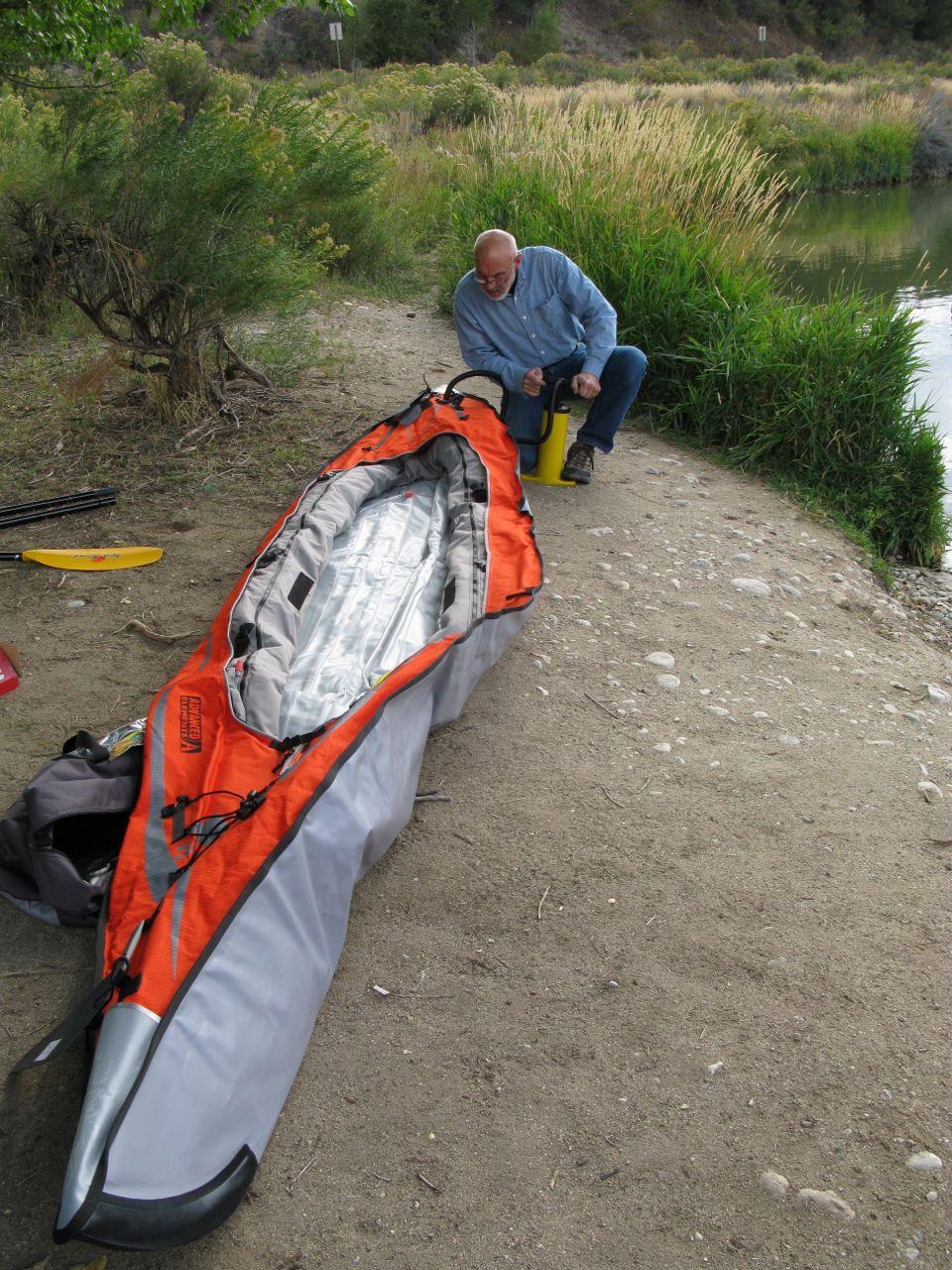 Richard Cabe inflating our brand-new kayak at Frantz Lake, September 2009.