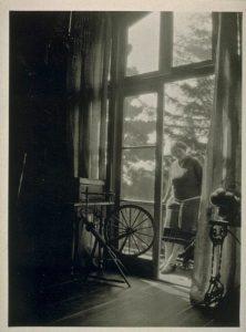 Jennie in the studio designed by Berkeley architect Lilian Bridgman