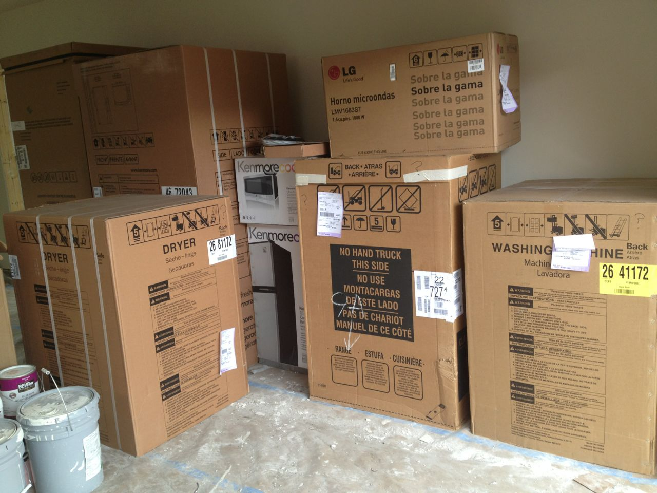A small truckload of appliance boxes ready to be distributed to Creek House and Treehouse