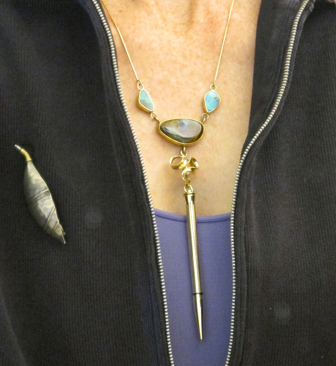 Necklace by Toni Tischer and Jerry Scavezze, opals from Susan Bethany; pin by Harold O'Connor