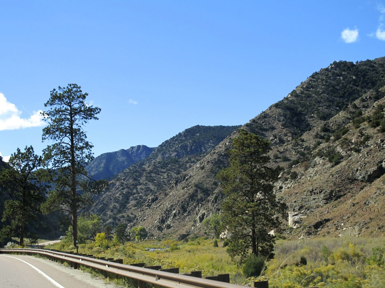 Through-the-windshield view of the Arkansas River Canyon