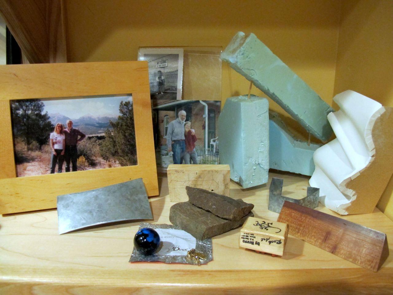 Richard memories and sculpture models on my bookshelf