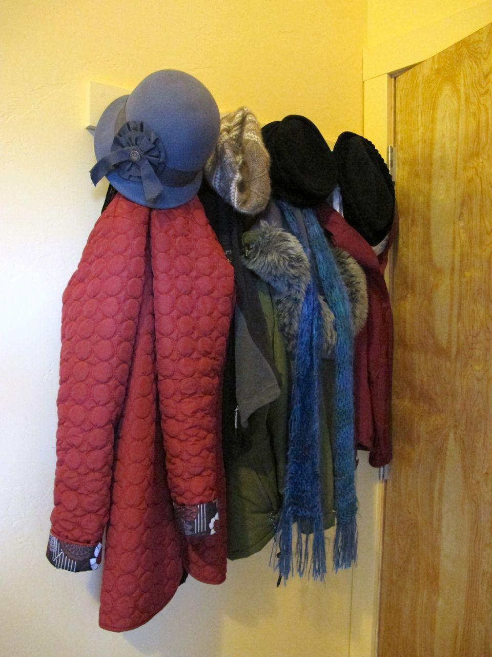 My brand-new coat rack, already full.