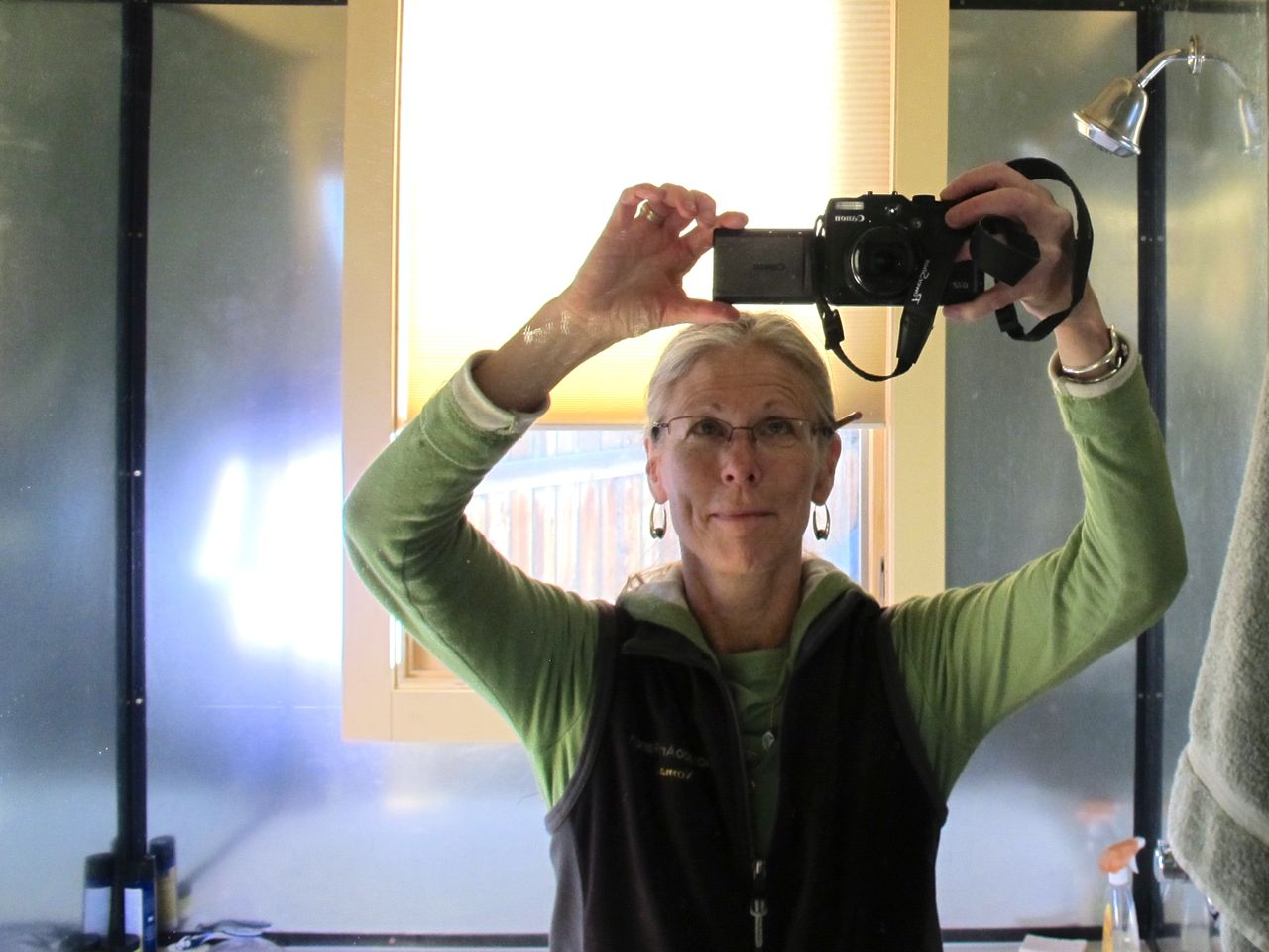 Self-portrait in the bathroom mirror: note the pencil behind the ear, a portent.
