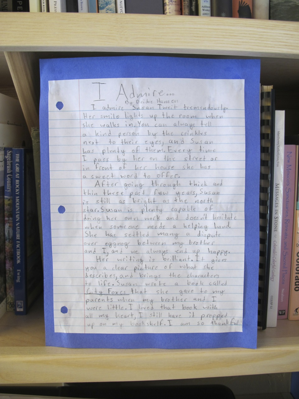 """I Admire..."" by Diedre Hansen, Fifth Grade"