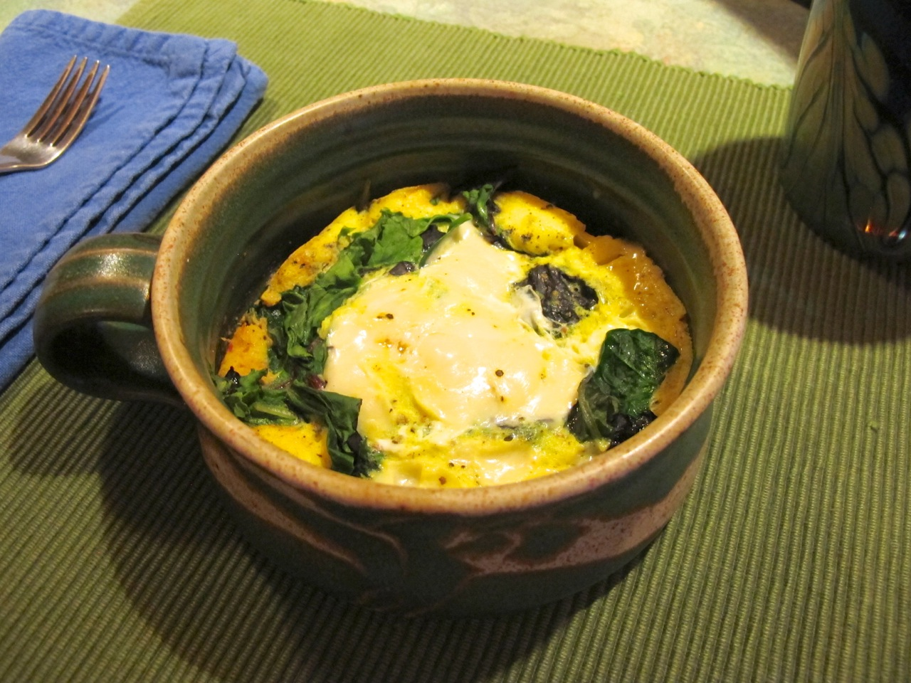 Cheesy Eggs Poached on Greens and Salsa