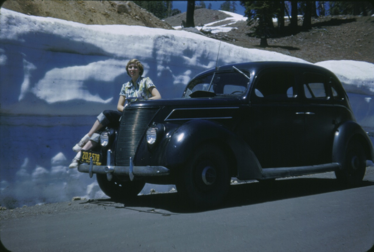 Mom posing on her honeymoon at Mt. Lassen, 1952