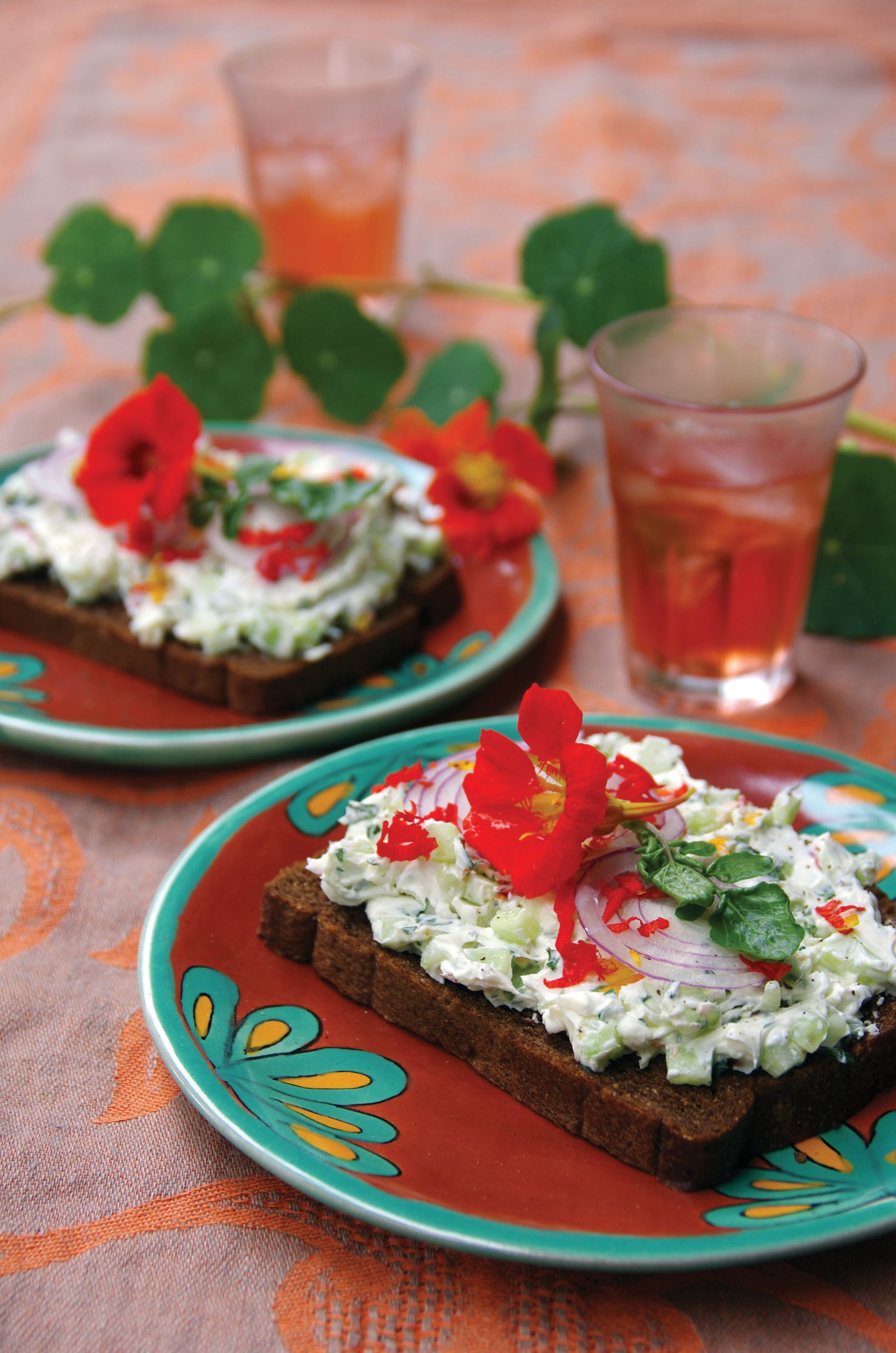 Open-faced Watercress Sandwiches with nasturtium flowers