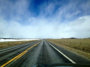 Driving straight into a snowstorm whipping in on howling winds on Friday while crossing South Park.
