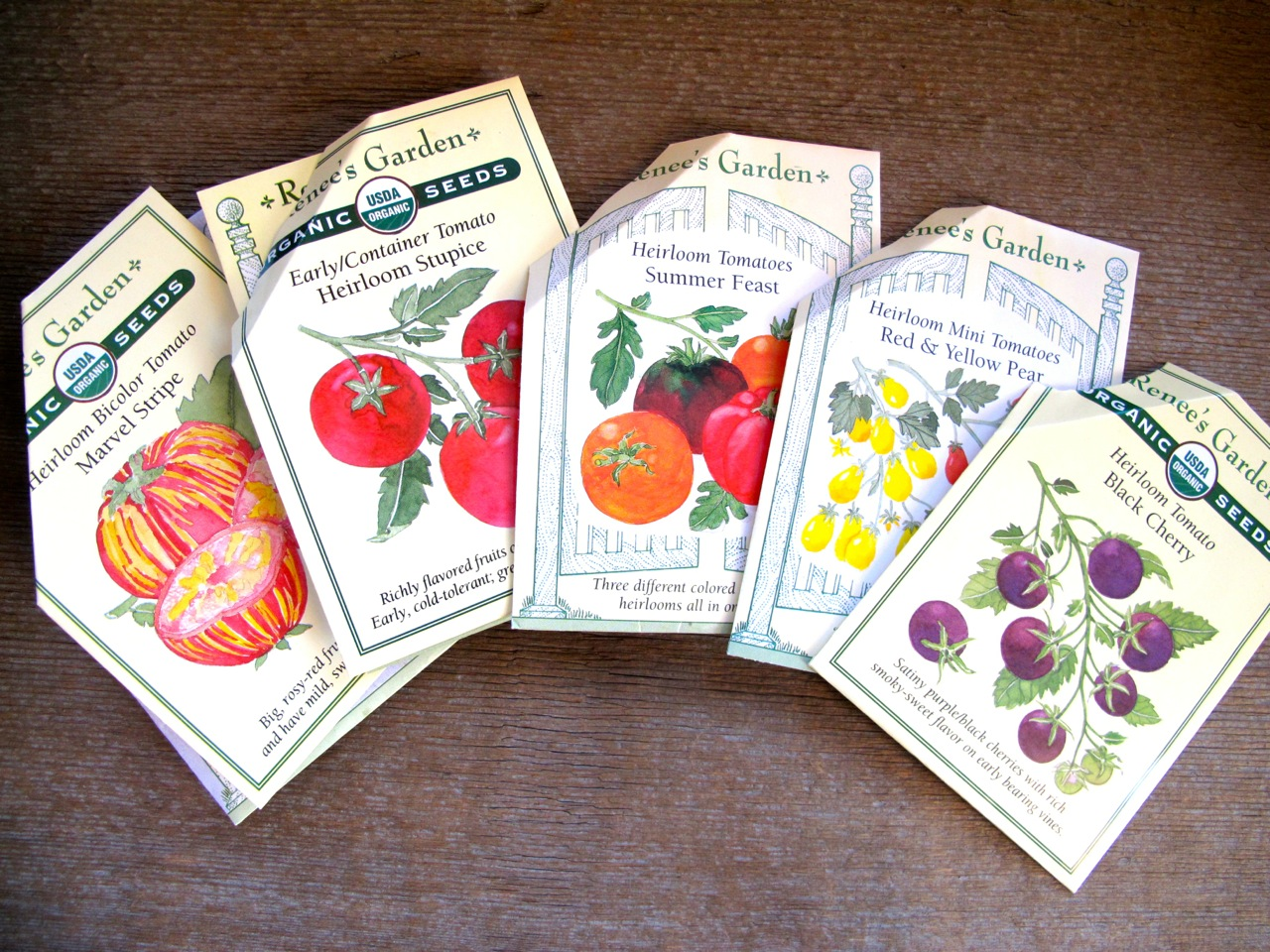 Tomato seed packets from Renee's Garden Seeds