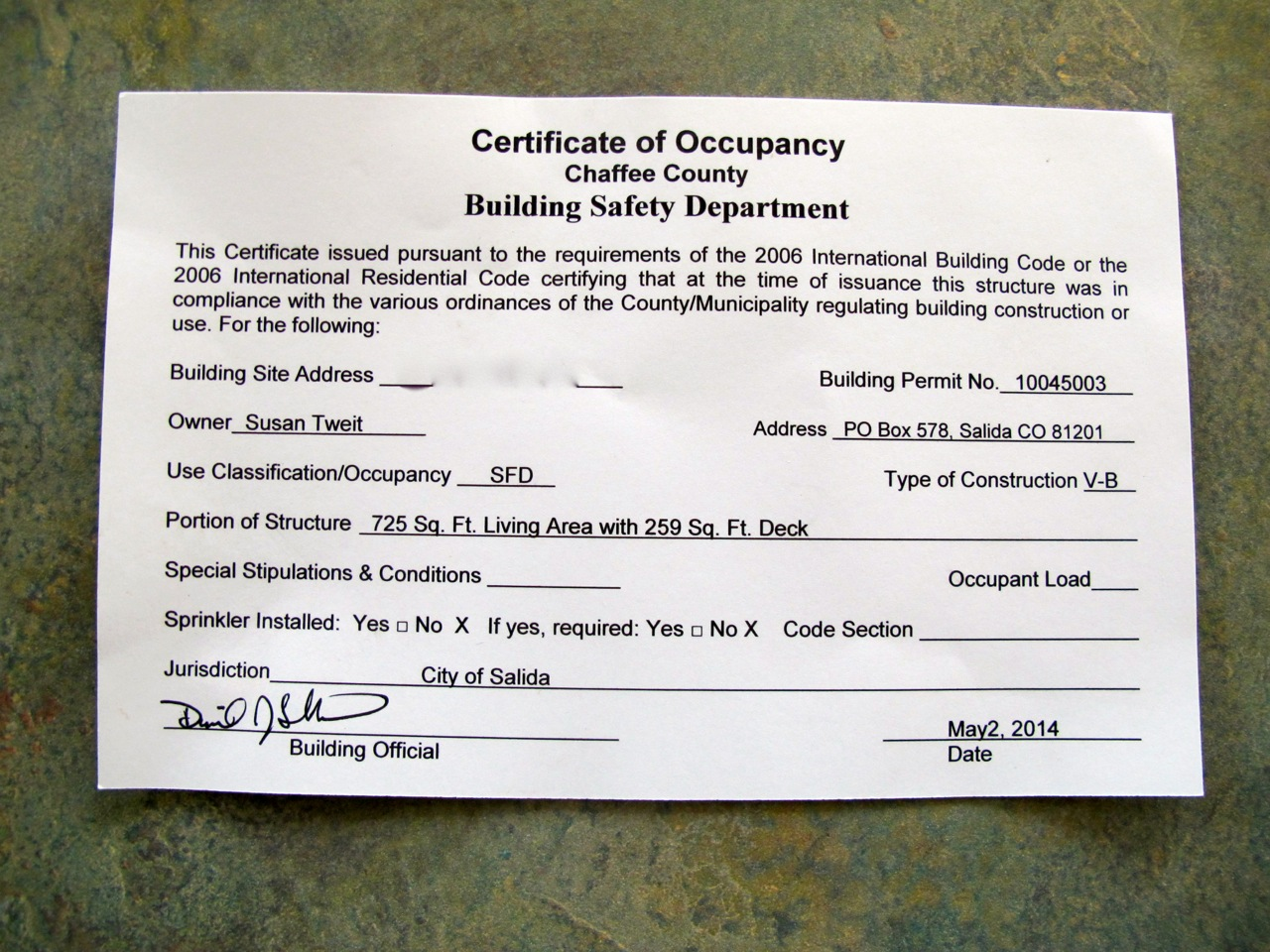 The Certificate of Occupancy for Tree House.