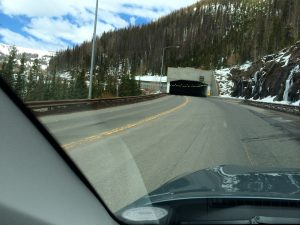Going over Wolf Creek Pass in the San Juan Mountains (that's an avalanche shed ahead).