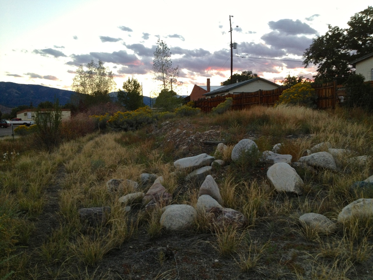 My house site before construction. (The boulders are Richard's spare sculpture materials.)
