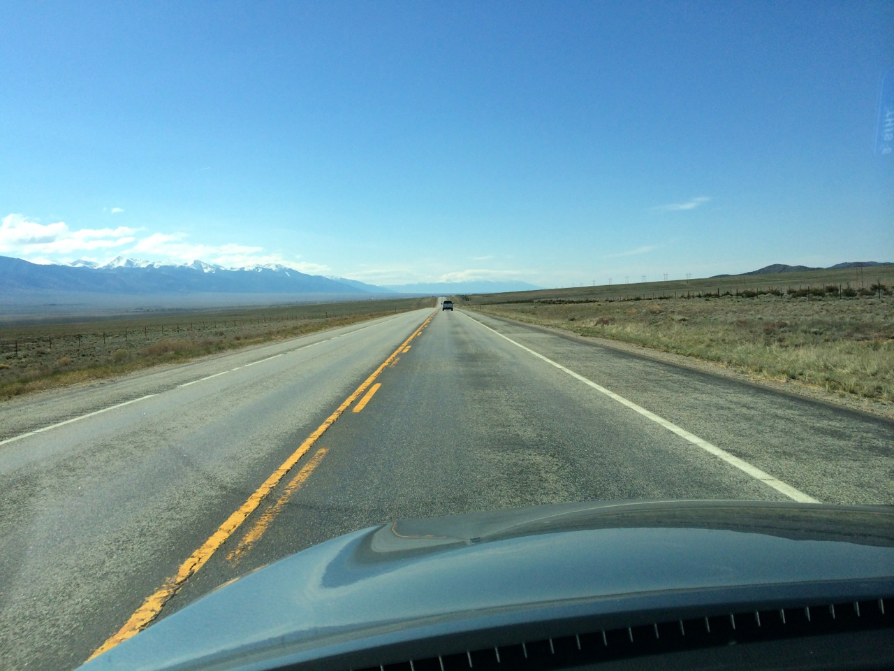 The wide-open San Luis Valley with the Sangre de Cristo Range on the left, on the road to Durango.