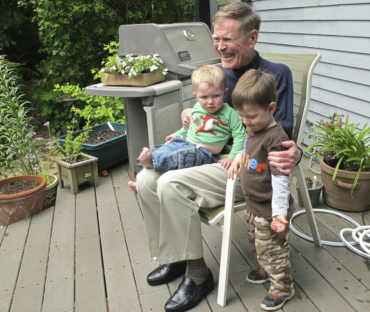 Dad with his two youngest great-grandchildren, Liam and Colin Roland