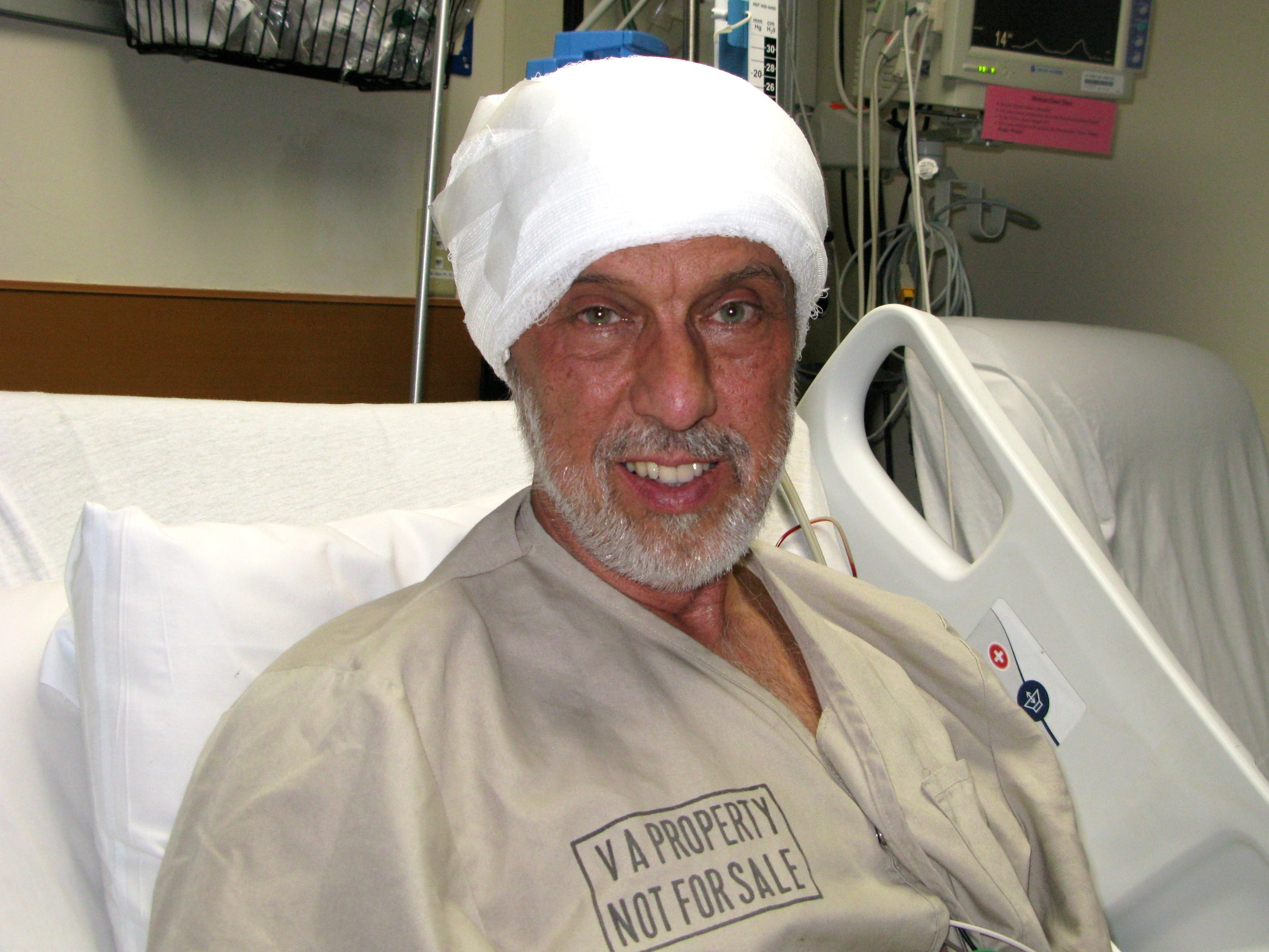 Richard in the surgical ICU at the VA the day after brain surgery number three.