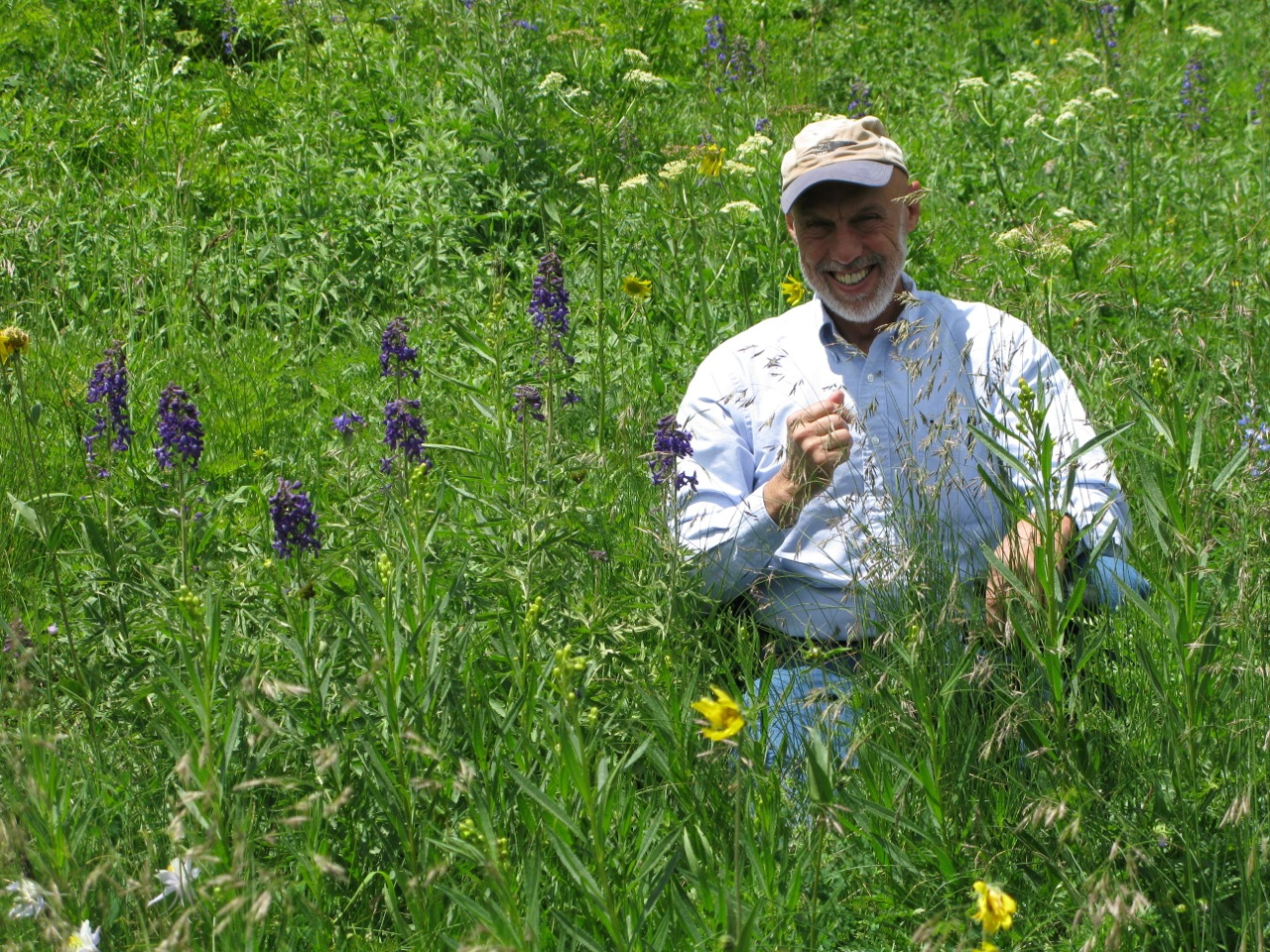 Richard Cabe happily examining a wildflower meadow near Crested Butte.
