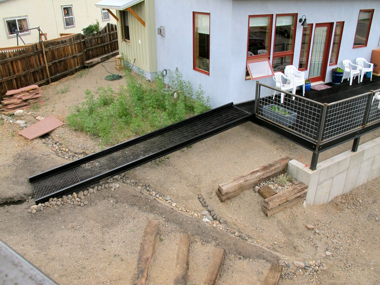The drainage from the second-story deck of Treehouse