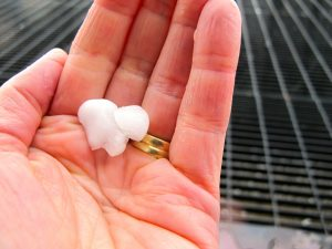 A hailstone about the size of a mothball that broke on impact.