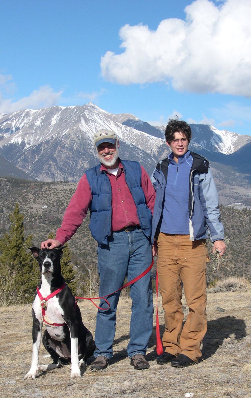 Isis, our Great Dane, Richard and Molly in the mountains.