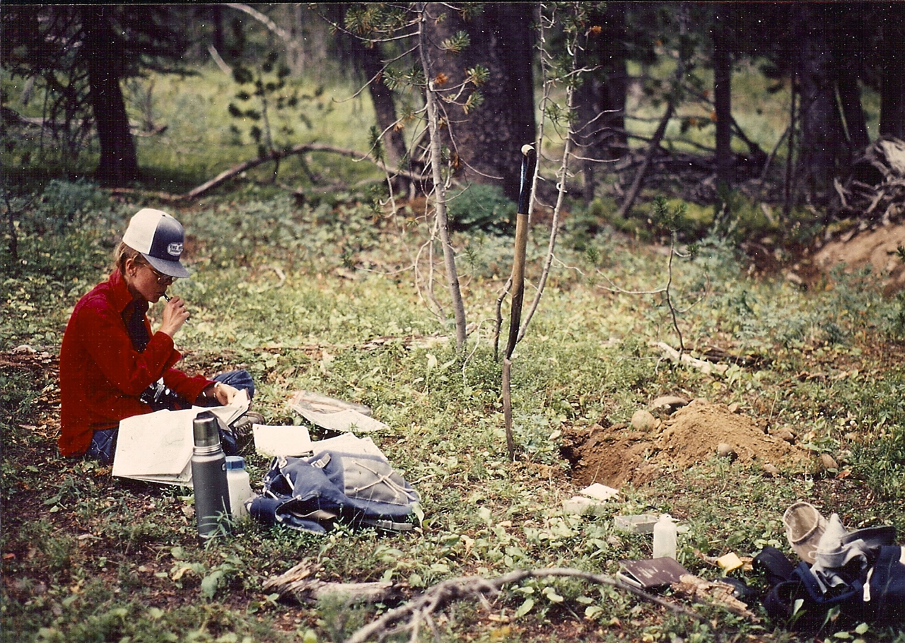 At work in the Absaroka Mountains, Wyoming, about 1981.