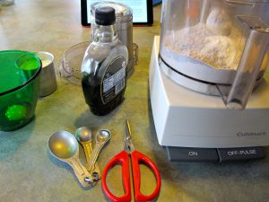 Food processor, ingredients, Mom's favorite green glass mixing bowl--I'm all set!