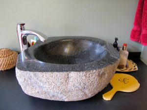 The Richard-sculpted blue granite basin in my bathroom