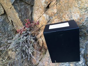 It's not easy to balance a 10-pound box of remains on a cliff....