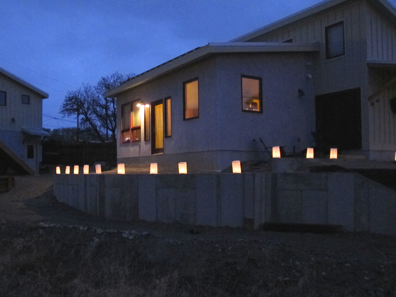 Luminarias line the deck foundation last year