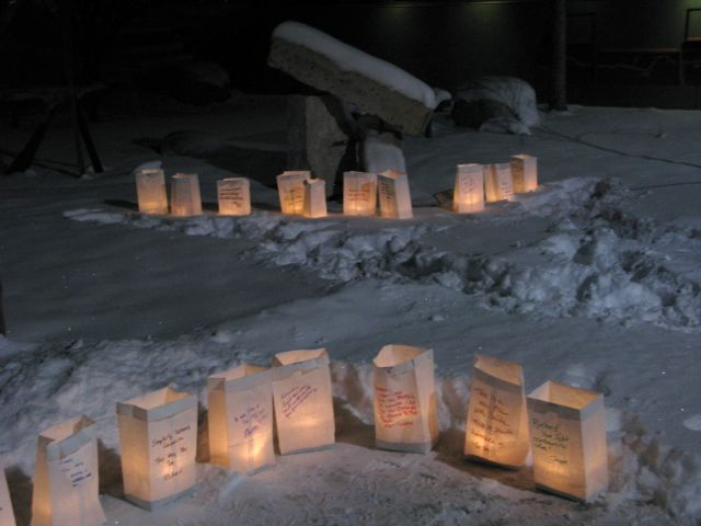 Matriculation with luminarias, lighting the way for Richard's spirit.