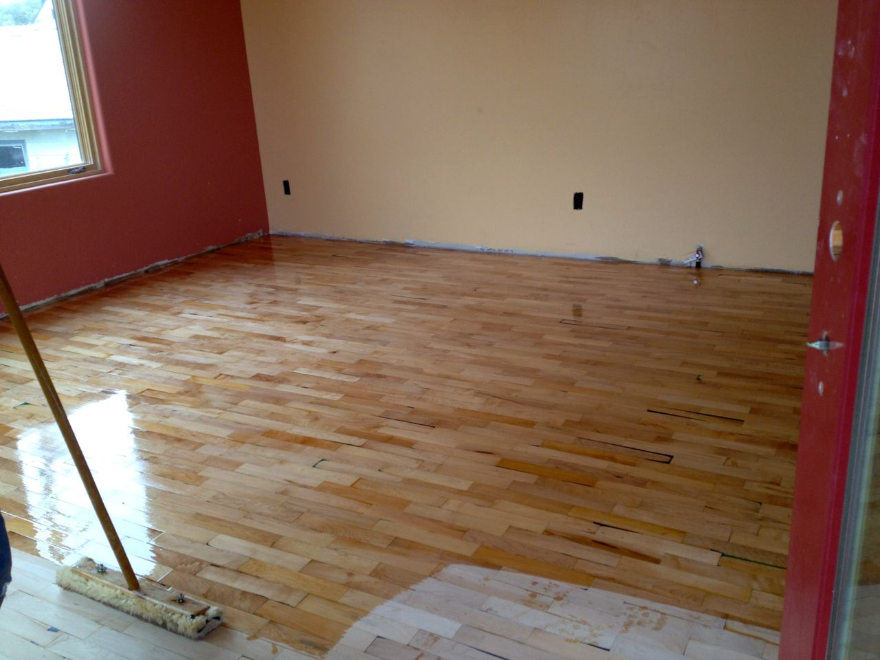 Maple strip flooring reclaimed from an old gymnasium.