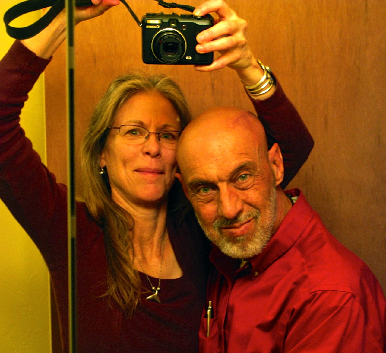 Playing around--a selfie (only taken with a camera, not a smartphone) after Richard's fourth brain surgery....