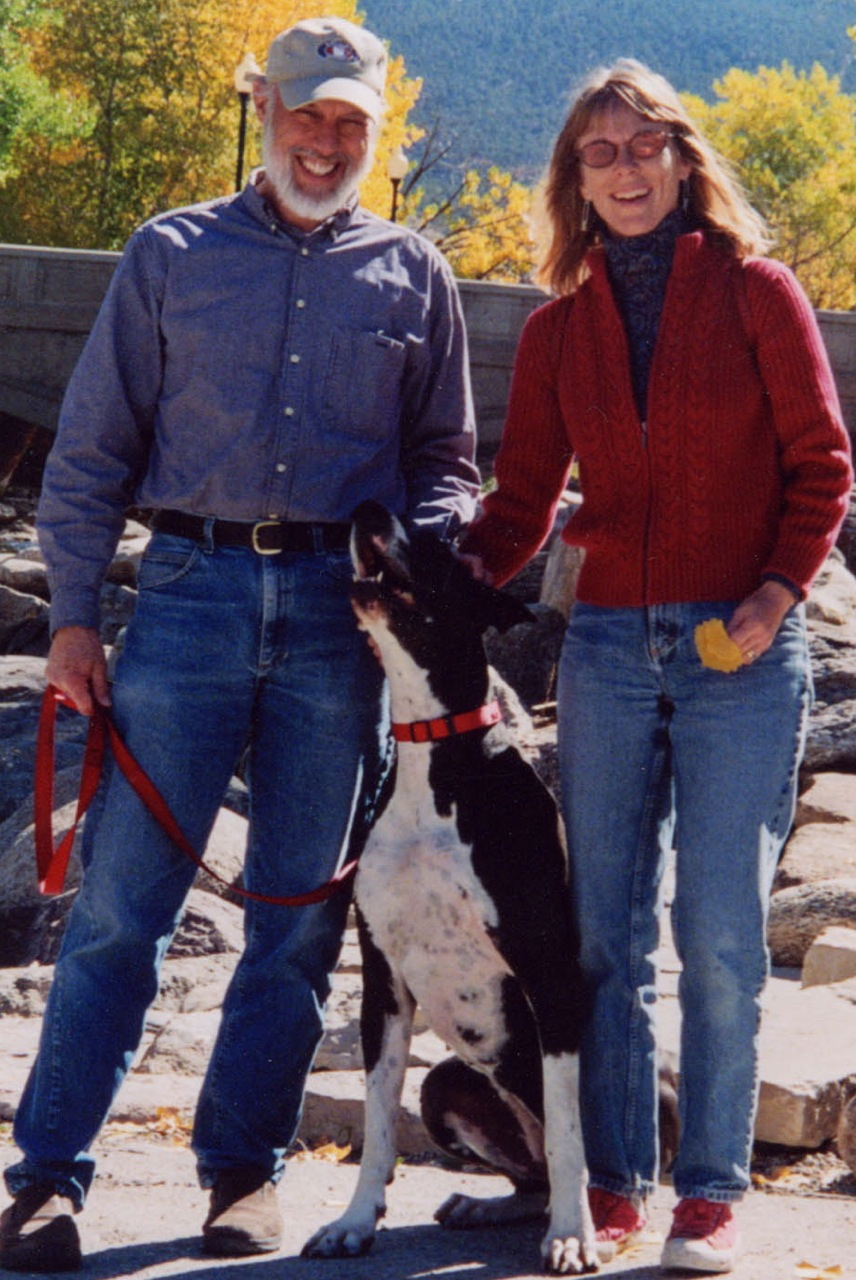 Richard and me (and our Great Dane, Isis) by the Arkansas River in earlier years.