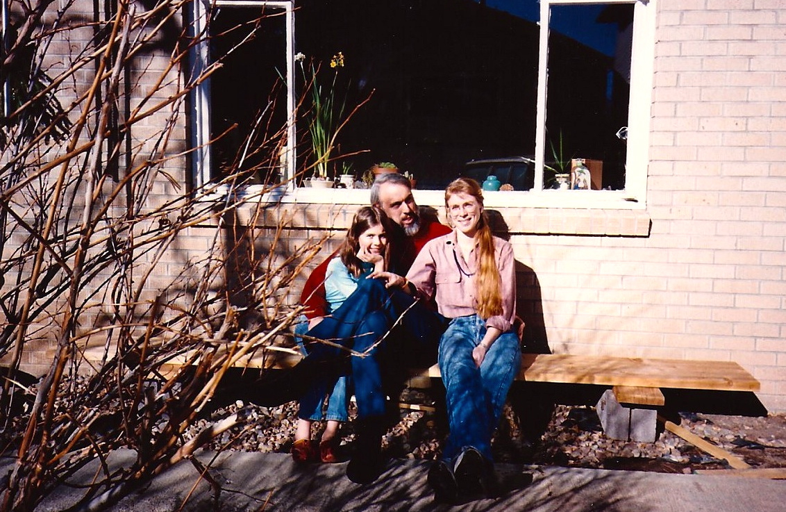 Molly, Richard and me in Boulder (we had an old Volvo station wagon then)